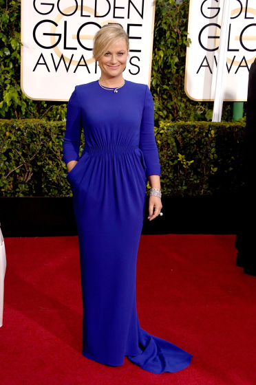Amy Poehler arrives to the 72nd Annual Golden Globe Awards in  Stella Mccartney gown