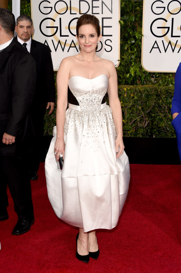 Tina Fey  arrives to the 72nd Annual Golden Globe Awards in Antonio Berardi