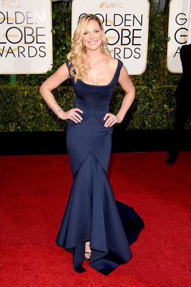 Katherine Heigl arrives to the 72nd Annual Golden Globe Awards in Zac Posen