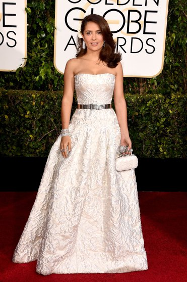 Salma Hayek arrives to the 72nd Annual Golden Globe Awards in Alexander Mcqueen