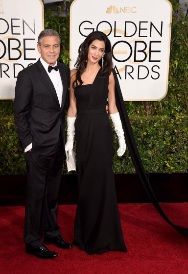 Amal Clooney  arrives to the 72nd Annual Golden Globe Awards in Dior gown