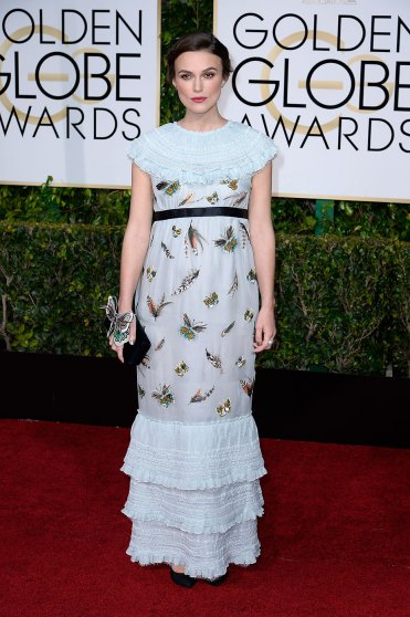 Keira Knightley arrives to the 72nd Annual Golden Globe Awards in Chanel