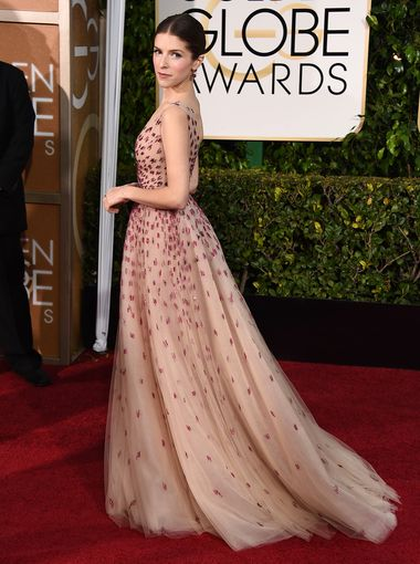 Anna Kendrick  arrives to the 72nd Annual Golden Globe Awards in Monique Lhuillier gown