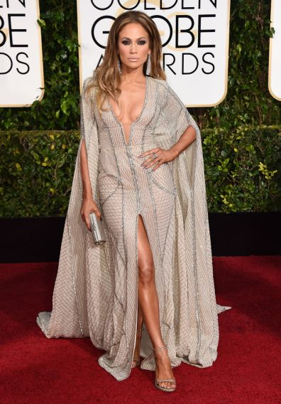 Jennifer Lopez  arrives to the 72nd Annual Golden Globe Awards in Zuhair Murad gown