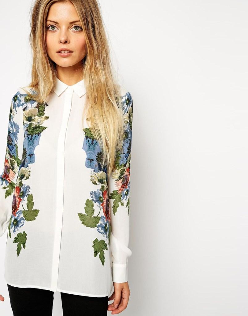 ASOS Floral Placement Print Blouse