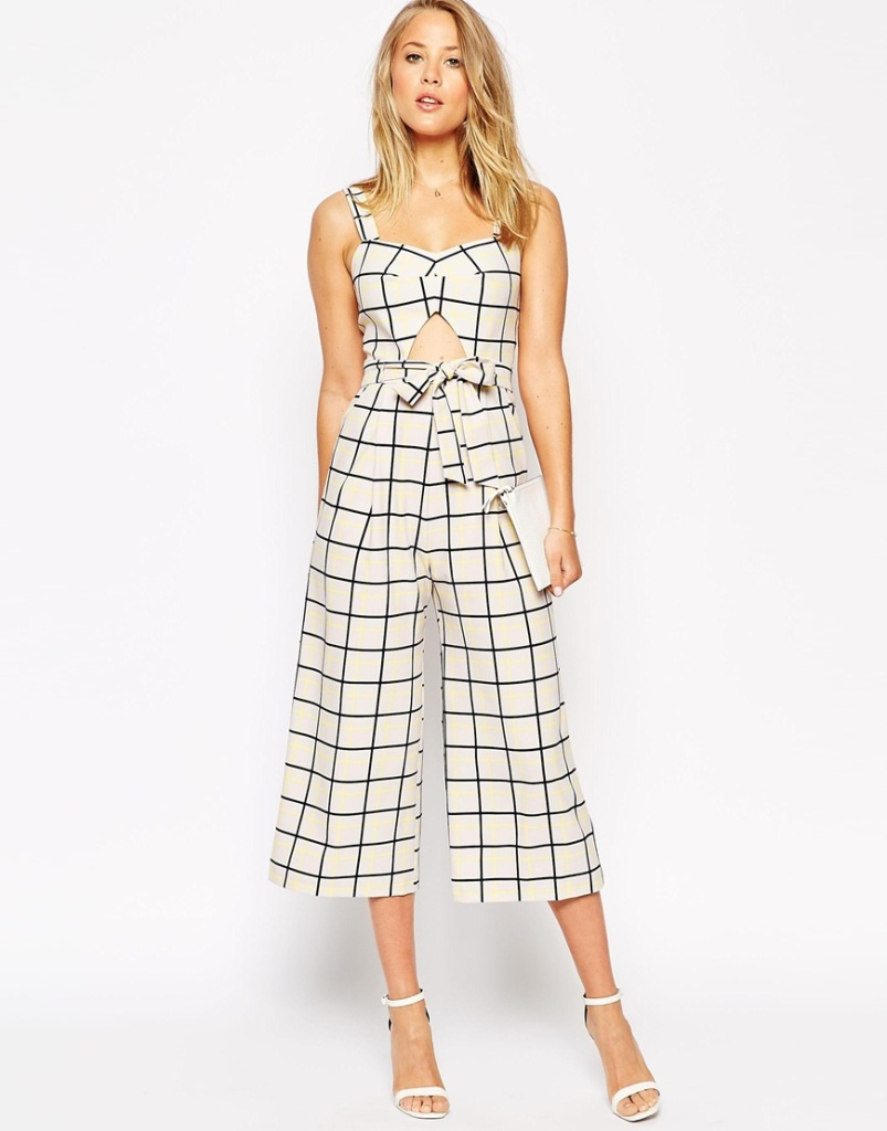 Jumpsuit in Grid Print with Cutout Detail