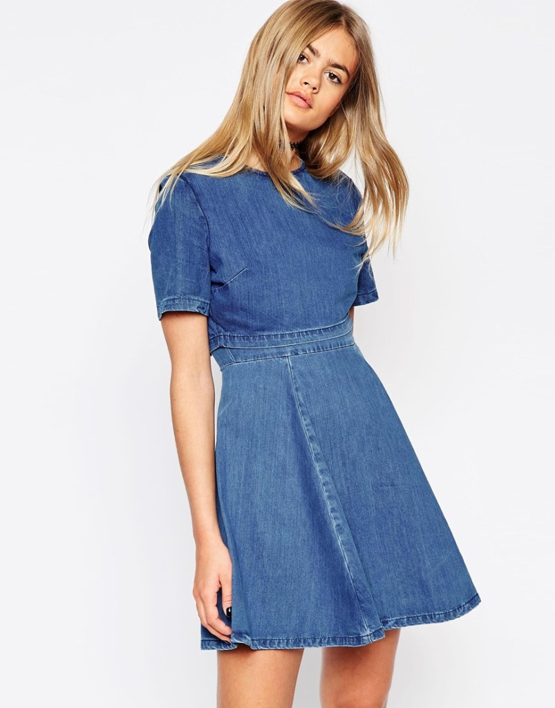 Denim Crop Top Skater Dress