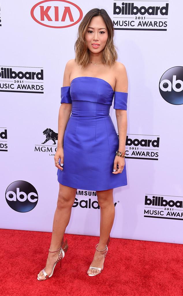 Aimee Song in Carven off-the-shoulder cobalt design dress ...