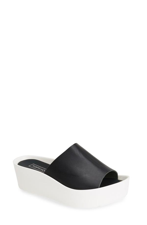 Topshop Leather Flatform Sandal