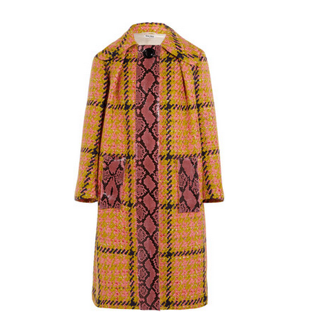 MIU MIU Python-trimmed houndstooth wool and cotton-blend coat