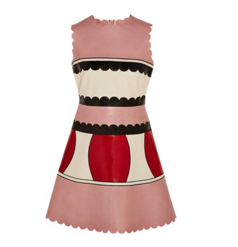 REDVALENTINO Color-block leather mini dress