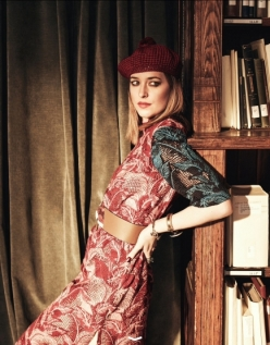 Dress by House of Holland; hat and bracelet by Gucci; belt and cuff by Marni; ring by Alexander McQueen