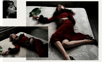 DRESS AND BELT: SAINT LAURENT BY HEDI SLIMANE. SHOES: MANOLO BLAHNIK