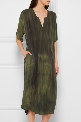 RAQUEL ALLEGRA Tie-dyed silk-charmeuse dress