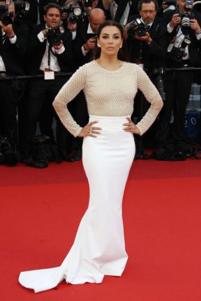"Eva Longoria in Pamella Roland at the ""Cafe Society"" premiere"