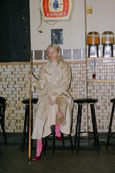 Ashish Beige Sequin Trench Coat, Acne Studios Beige Rila Turtleneck, Comme des Garçons Pink Long Socks, Saint Laurent Pink Mirror Paris Heels