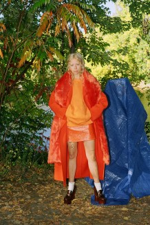 Emilio Pucci Orange Oversized Wool Coat, Carven Orange Faux-Fur Scarf, Acne Studios Orange Karvel Sweatshirt, Courrèges Orange Glossy Mini Skirt, Maison Margiela Brown Leather Loafer Heels