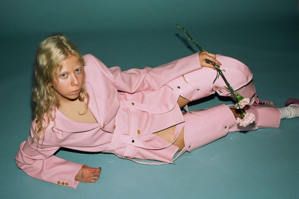 Comme des Garçons Pink Cut-Out Vinyl Suit, Golden Goose Pink Mononochromatic Superstar Sneakers