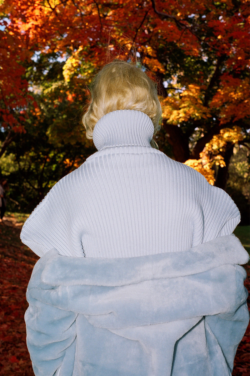 Miu Miu Blue Shearling Coat, Jacquemus Blue Giant Shoulder Turtleneck