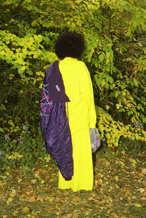 Marques Almeida Yellow Oversized Pullover, Marques Almeida Yellow Wide-Leg Lounge Pants, Vetements Purple Total Fucking Darkness Bomber Jacket