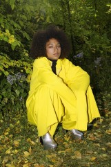 Marques Almeida Yellow Oversized Pullover, SSENSE Exclusive Vetements Black Ribbed Turtleneck, Marques Almeida Yellow Wide-Leg Lounge Pants, Saint Laurent Silver Platform Candy Boots