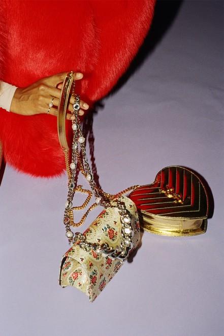 Miu Miu Gold Tapestry Bag, Saint Laurent Gold Love Monogram Bag, Sophie Bille Brahe Gold Double de Perle Ring