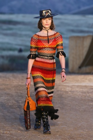 Mandatory Credit: Photo by Katie Jones/WWD/REX/Shutterstock (8818801aj) Model on the catwalk Dior Cruise Collection 2018 show, Runway, Los Angeles, USA - 11 May 2017