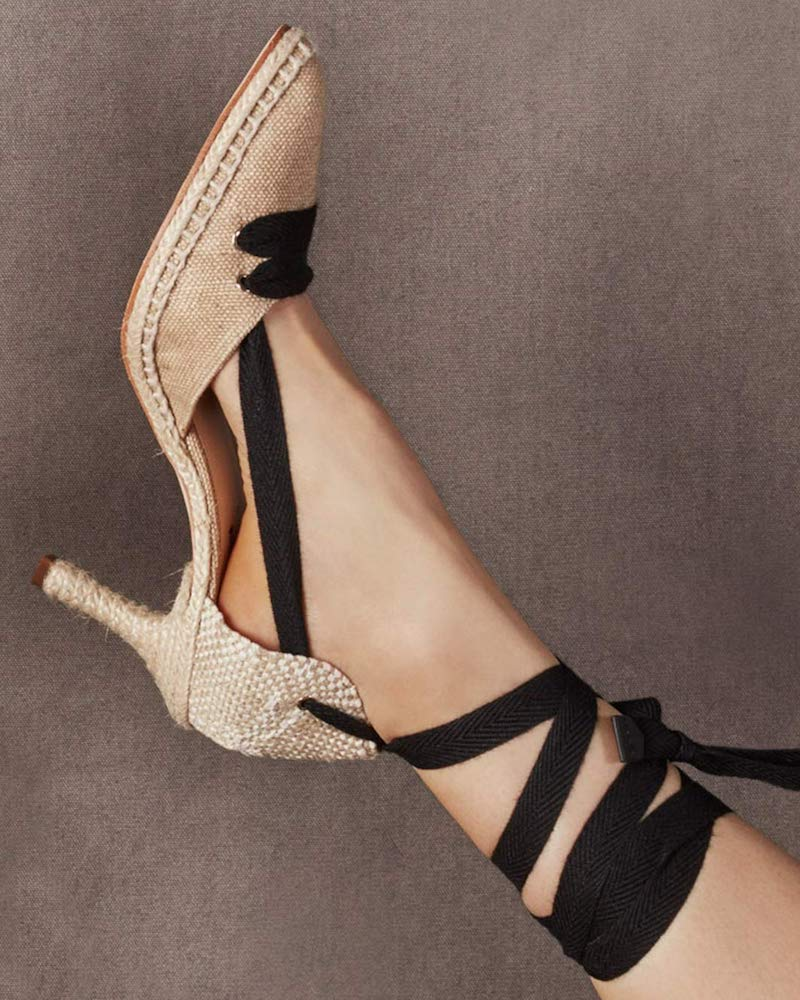 Castañer-by-Manolo-Blahnik-By-Day-Lace-Up-Linen-Pumps