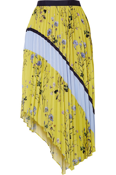 Self-Portrait - Asymmetric Pleated Printed Crepe De Chine Midi Skirt - Yellow