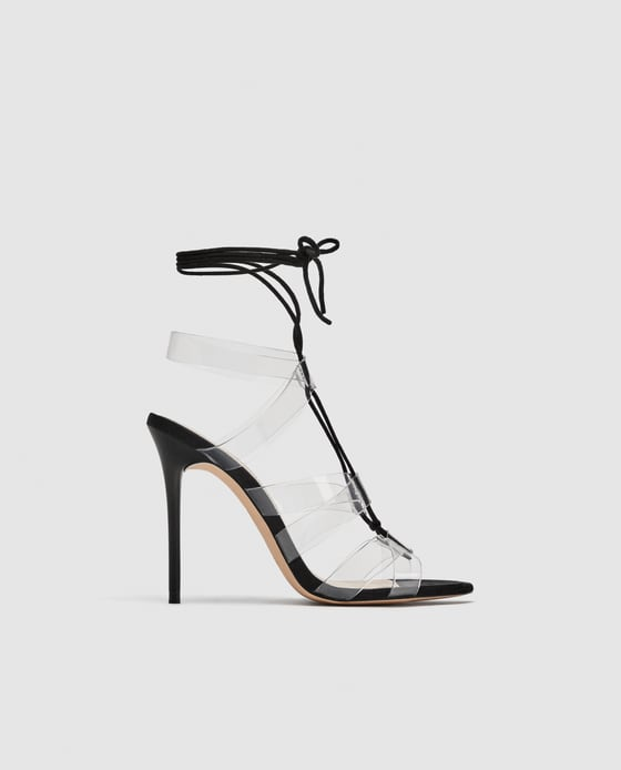 VINYL HIGH-HEEL SANDALS WITH TIES DETAILS 69.90 USD