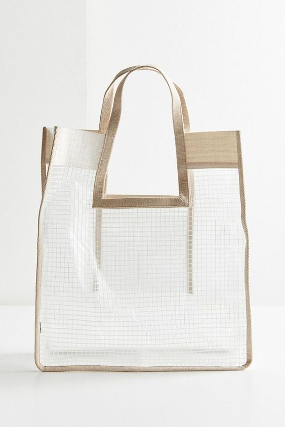 Grid Plastic Shopper Tote Bag