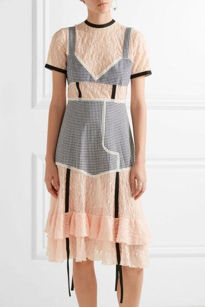 SANDY LIANG Accord paneled gingham stretch-cotton and lace dress
