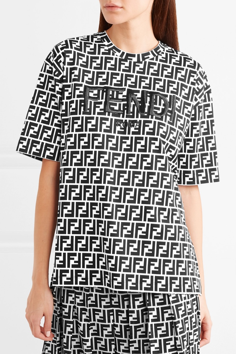 Fendi-Embroidered-Printed-Cotton-Jersey-T-Shirt