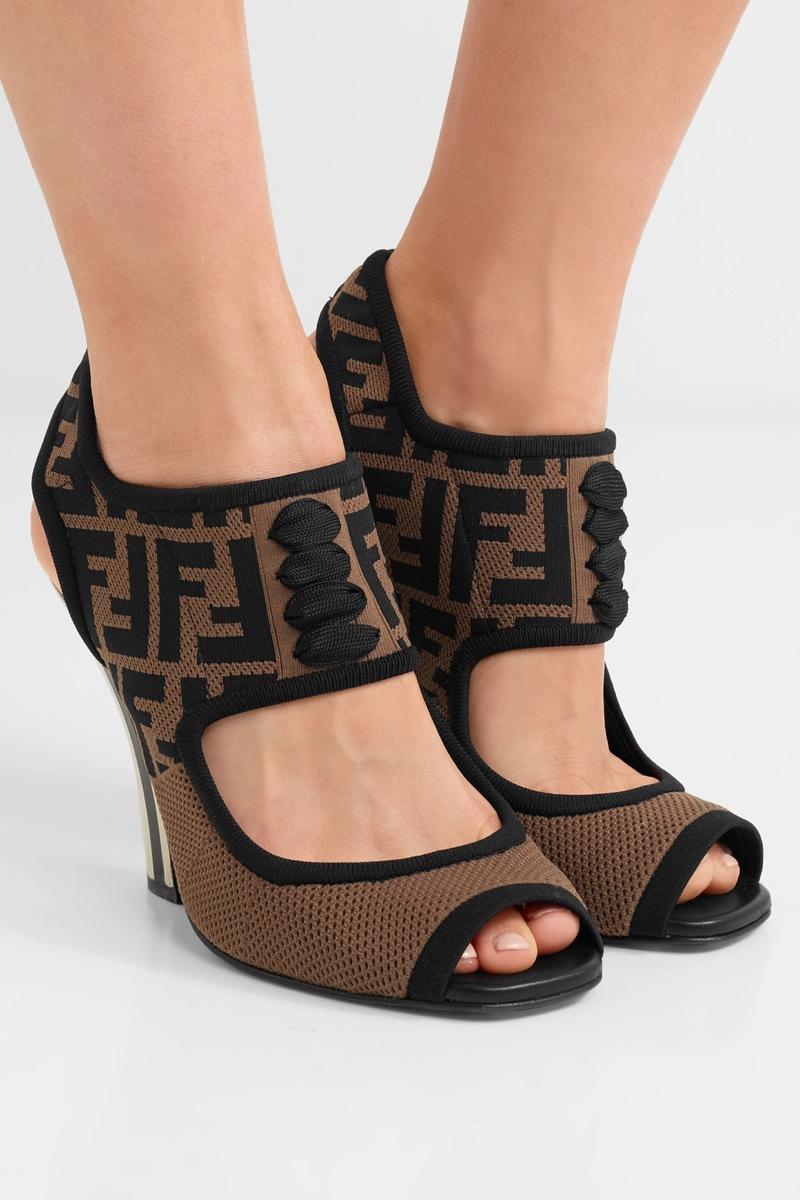 Fendi-Logo-Jacquard-Stretch-Mesh-Sandals