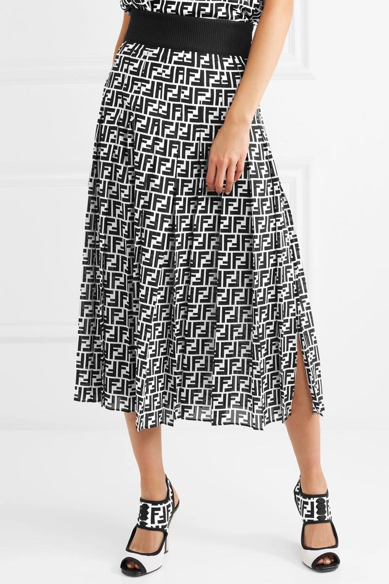 Fendi-Printed-Silk-Georgette-Midi-Skirt