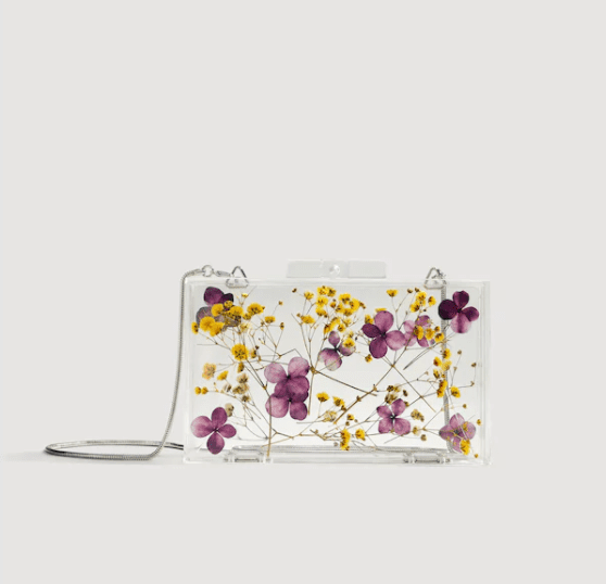 Flowers transparent box clutch