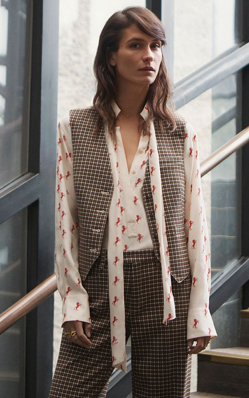 Chloé-Checked-Woven-and-Satin-Jacquard-Vest